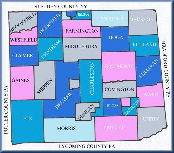 Tioga County PA Township Map